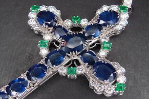 Tiffany style platinum diamond sapphire cross